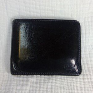 Coach Black Leather Double Billfold Wallet